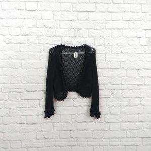 Express   Black Crochet Cropped Shrug